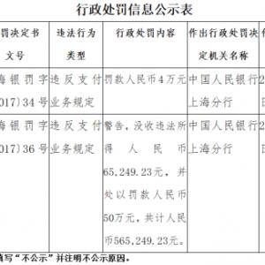 上海都市旅游卡等5家支付机构均因违反支付业务规定被央行处罚 ...
