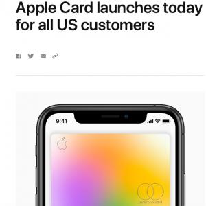 苹果:Apple Card已面向所有美国消费者推出