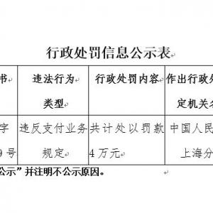 """第三方支付公司""""东方付通""""违规遭央行罚款4万元"""