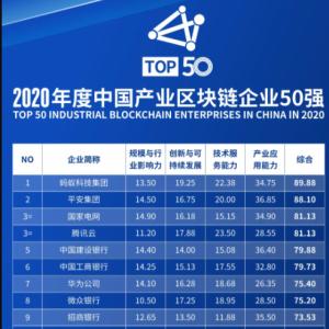 2020中国产业区块链企业50强出炉 蚂蚁集团位居第一
